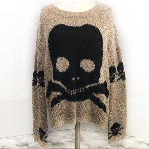 Material Girl Brown Black Skull Sweater